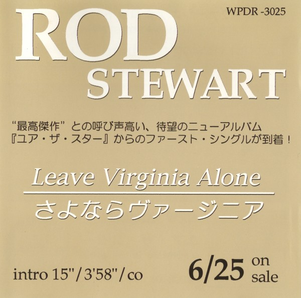 STEWART ROD - Leave Virginia Alone - CD Maxi